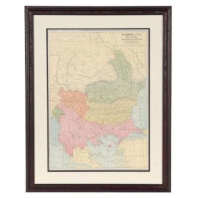 George F. Cram Wax Engraving Map of Turkey, Bulgaria, Romania and More