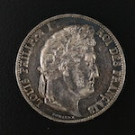 1847-A Louis Philippe I Five Francs Silver Coin