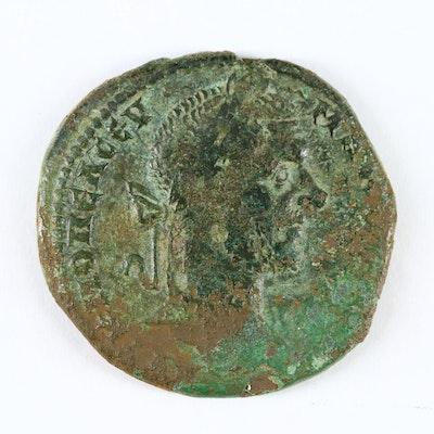 Ancient Emperor Macrinus of Nicopolis AE28 Coin, ca. 217–218