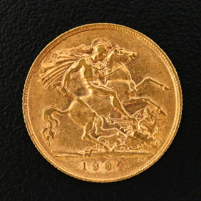 1907 Great Britain Half Sovereign Gold Coin