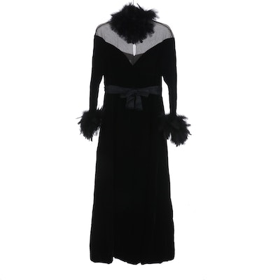 Couture, LTD Feather Trimmed Velvet and Chiffon Maxi Dress, Mid 20th C.