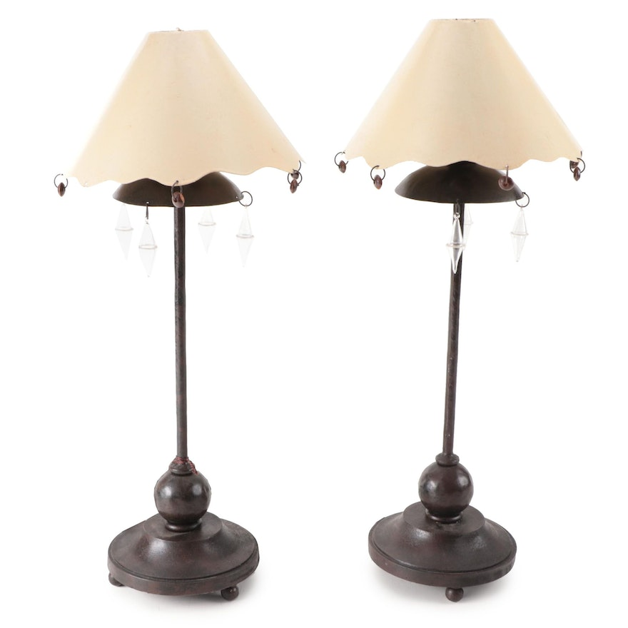 Bronzed Metal Table Lamps with Metal Lampshades