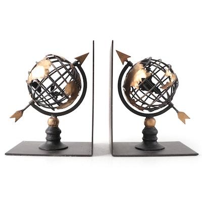 Pier 1 Metal Globe Bookends, Contemporary