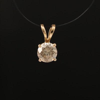 14K 0.47 CT Diamond Solitaire Pendant