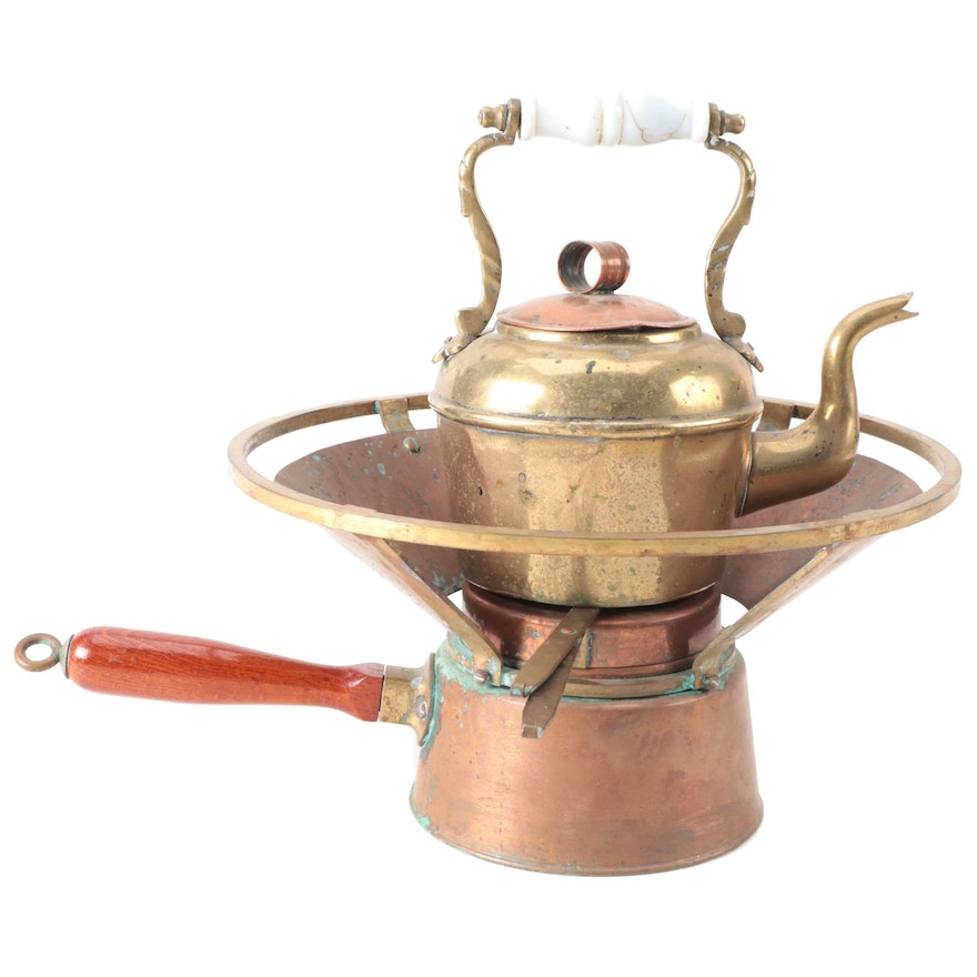 Copper Warmer with Brass and Copper Teapot, Early 20th Century