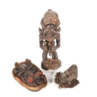 """Chokwe Style """"Chibinda Ilunga"""" Figure and West African Masks"""