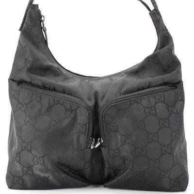 Gucci GG Double Pocket Hobo Bag in Black Monogram Nylon