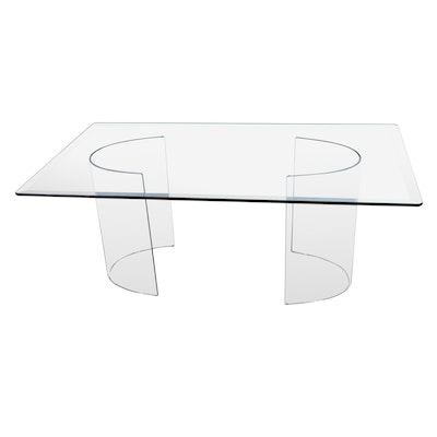 Modernist Glass Dining Table, Late 20th Century