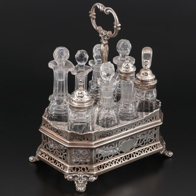 Victorian English Sterling Silver and Crystal Cruet Set, Mid-19th Century