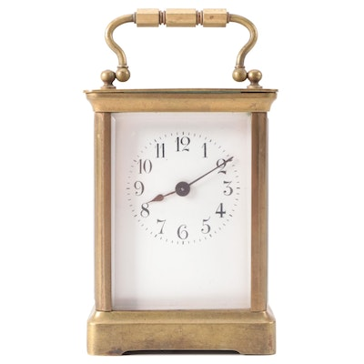 French Gorge Brass Carriage Clock,  Early 20th Century