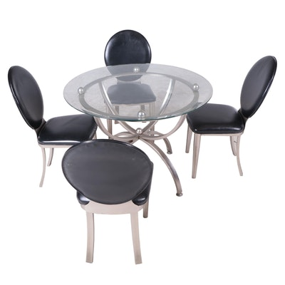 Brushed Nickel Finish Contemporary Glass-Top Dinette Table and Chairs