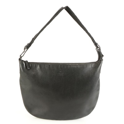 Gucci Razor Shoulder Bag in Black Leather with Nylon/Leather Strap