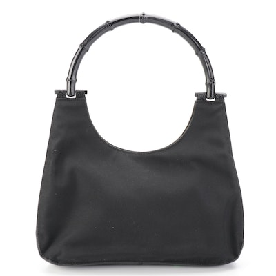 Gucci Shoulder Bag in Nylon Canvas and Leather with Bamboo Handle