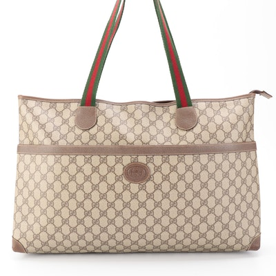 Gucci GG Supreme Tote in Monogram Canvas and Leather with Web Straps