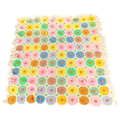 Handmade Crocheted Afghan Bedspread with Dimensional Flowers