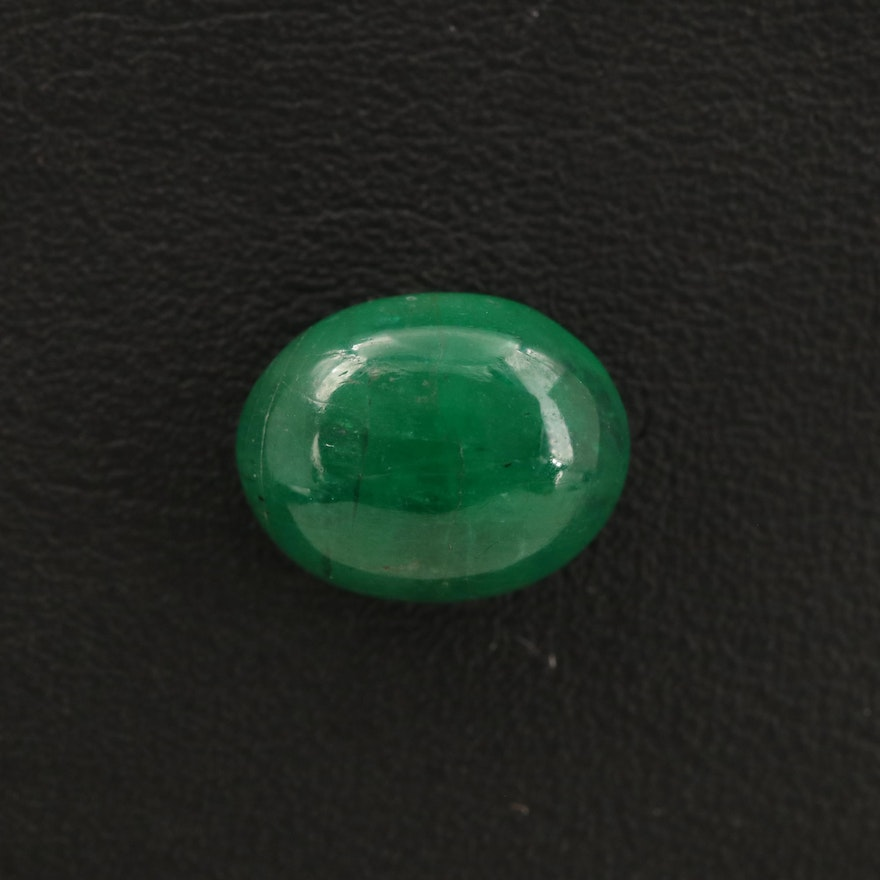 Loose 2.84 CT Oval Emerald Cabochon