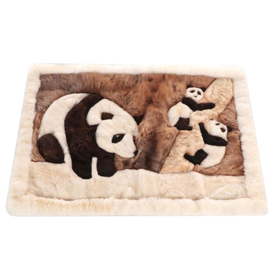 5'3 x 3'11 Machine Made Peruvian Alpaca Fur Pictorial Panda Motif Area Rug
