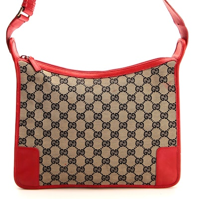 Gucci Shoulder Bag in GG Canvas with Red Leather Trim