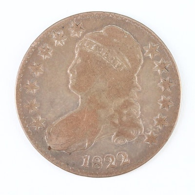 1822 Capped Bust Lettered Edge Silver Half Dollar