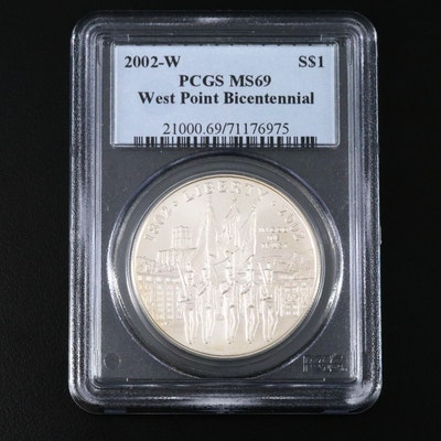 PCGS Graded MS69 2002-W West Point Bicentennial Commemorative Silver Dollar