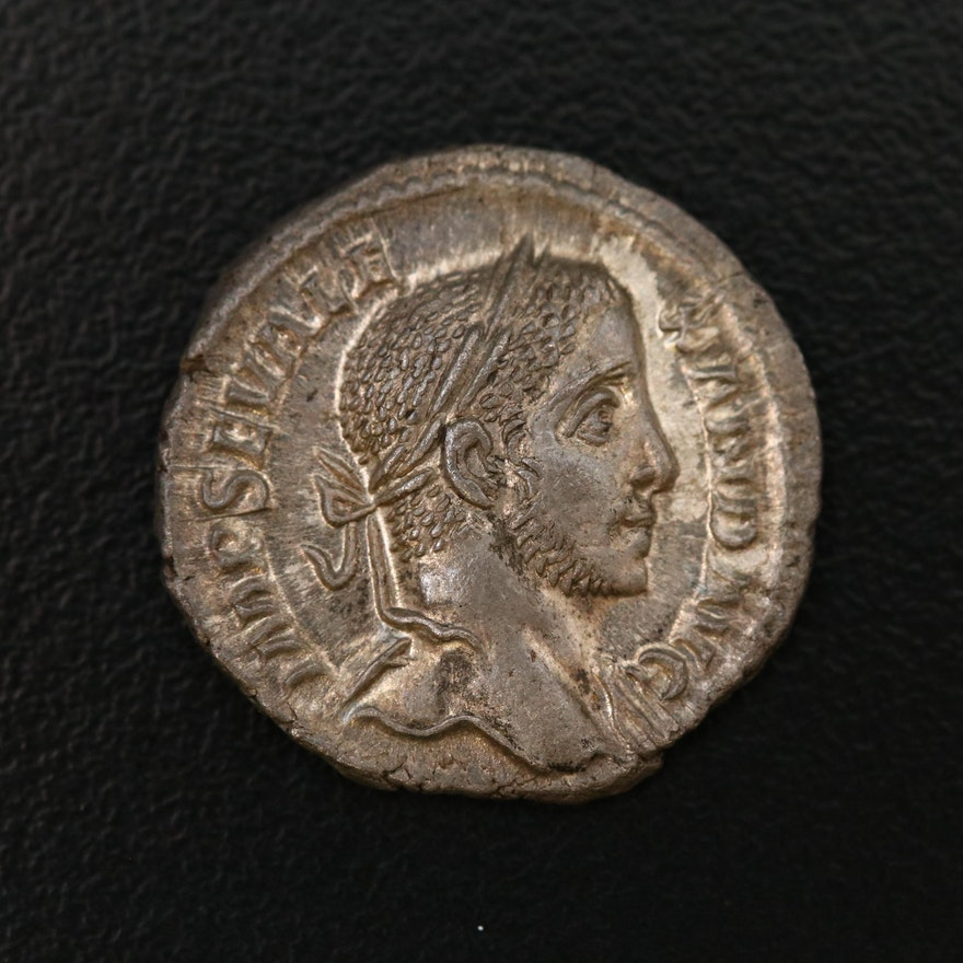 Ancient Roman Imperial AR Denarius of Severus Alexander, ca. 222 AD