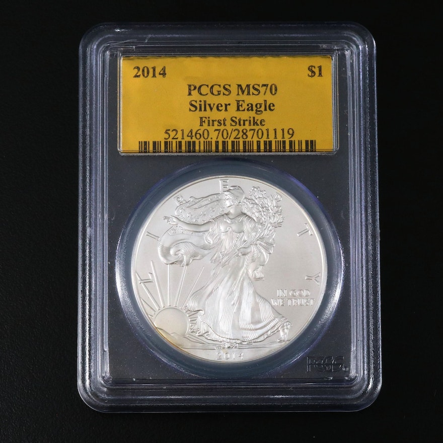 """PCGS Graded MS70 2014 """"First Strike"""" $1 American Silver Eagle Bullion Coin"""
