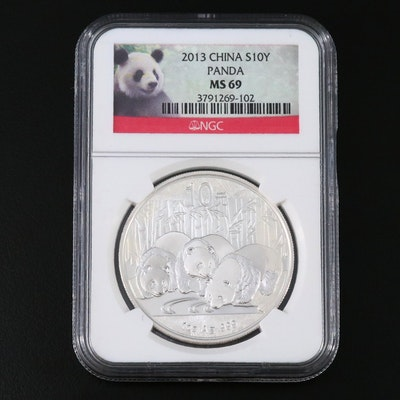 NGC Graded MS69 Chinese 10 Yuan .999 Fine Silver Proof Panda Coin, 2013