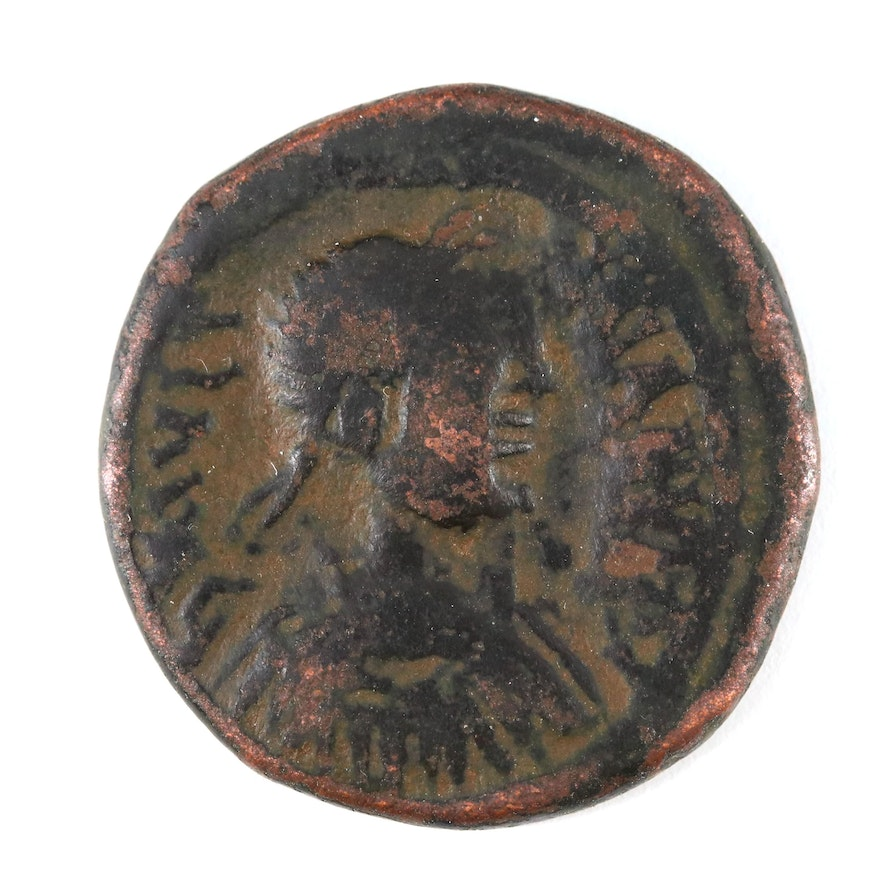 Ancient Byzantine Follis Coin of Justin I, ca. 518 A.D.