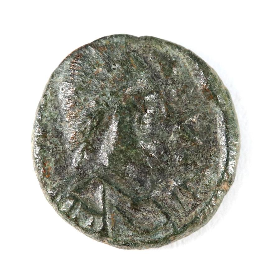Ancient Arab Byzantine 10-Nummi Coin, ca. 600 AD