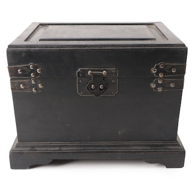 Chinese Ebonized Trunk with Etched Metal Brackets and Latch