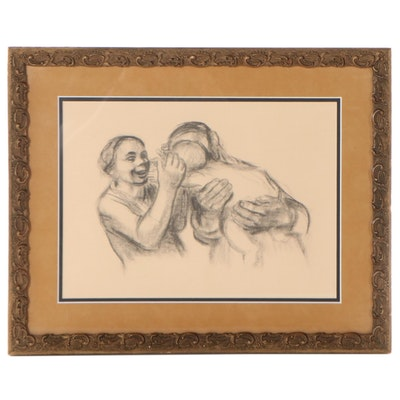"Lithograph After Käthe Kollwitz ""Happy Motherhood (Parents With Child)"""