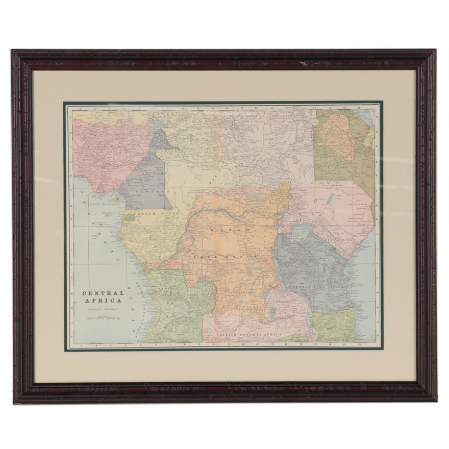 George F. Cram Wax Engraving Map of Central Africa, Early 20th Century