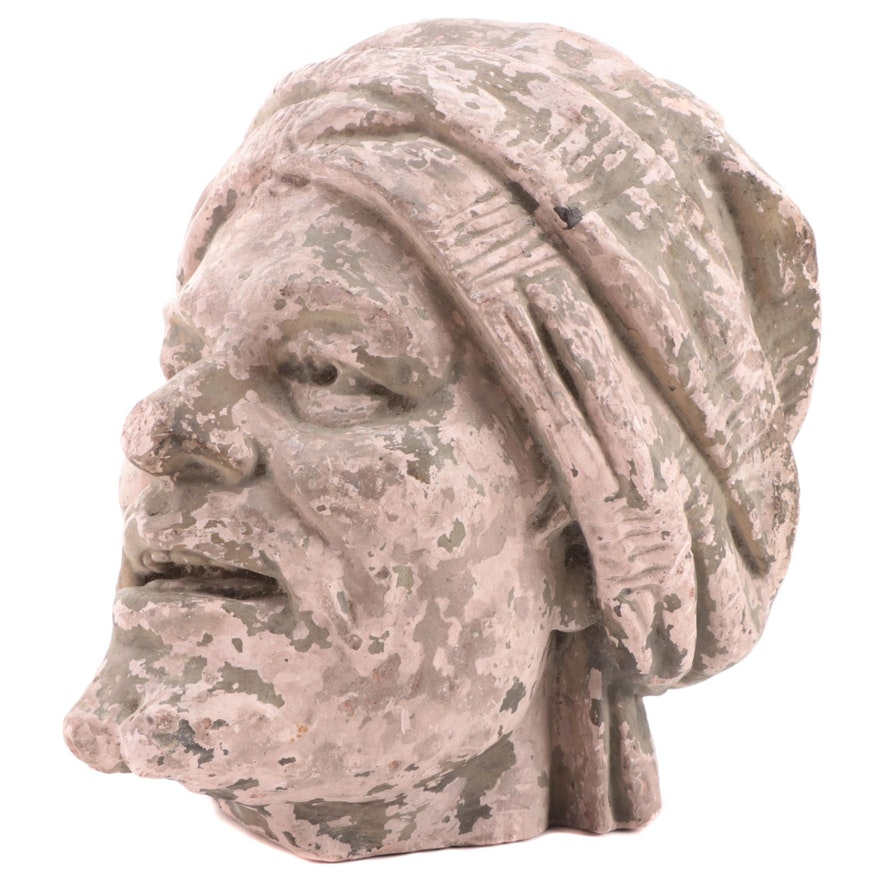 Man with Turban Cast Concrete Bust