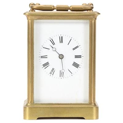 B & G Brass Corniche Carriage Clock, Early 20th Century