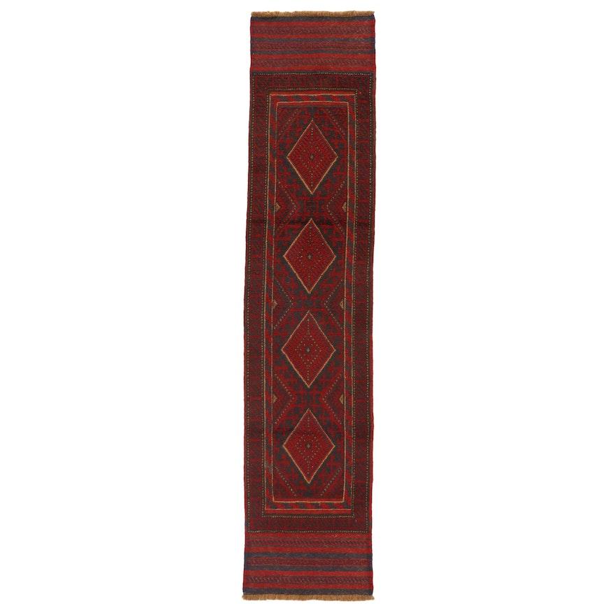 1'11 x 8'9 Hand-Knotted Afghan Turkmen Mixed Technique Carpet Runner