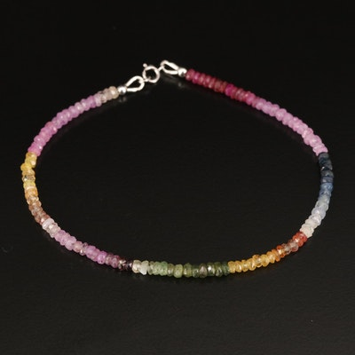 Sapphire and Corundum Beaded Rainbow Bracelet with 14K Clasp