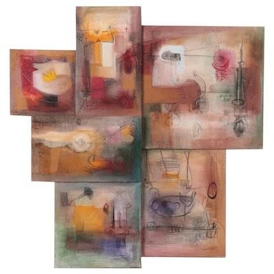 Antonio Carreno Large-Scale Abstract Mixed Media Painting, Circa 2000