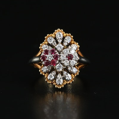 18K Diamond and Ruby Ring