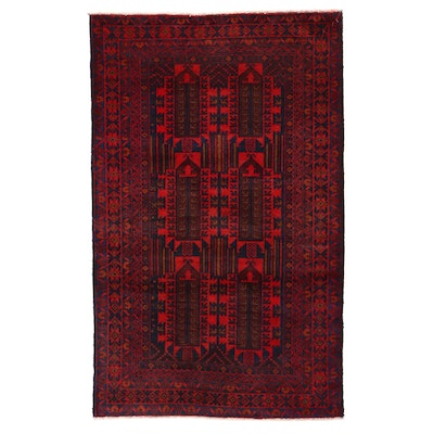 2'10 x 4'7 Hand-Knotted Afghan Baluch Accent Rug