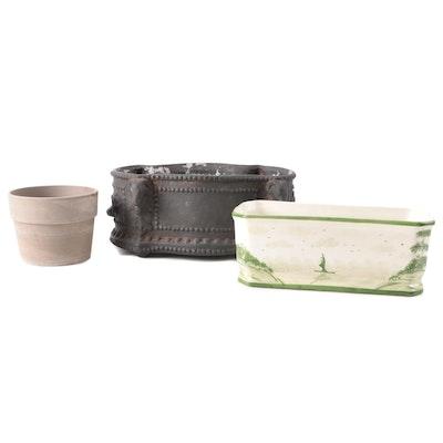 Alcobaça Portuguese Ceramic Planter with Other Ceramic Planters