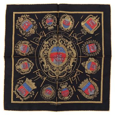 """Hermès """"Les Armes de Paris"""" Silk Twill Pocket Square"""