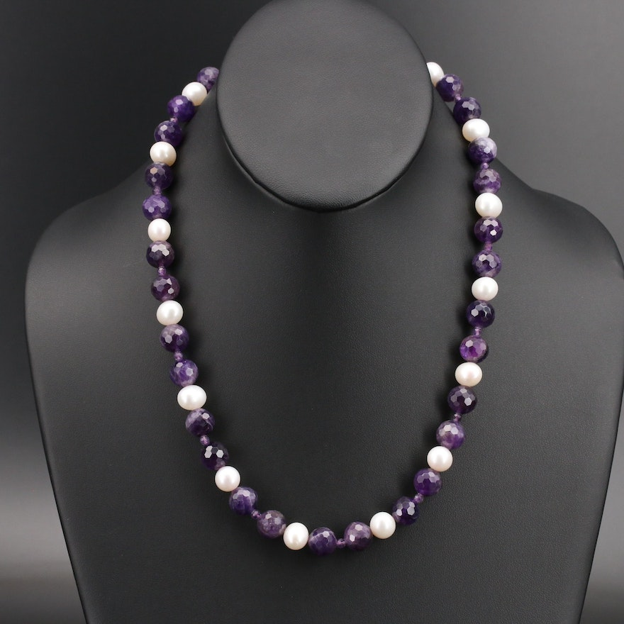 Amethyst and Pearl Necklace with 14K Clasp