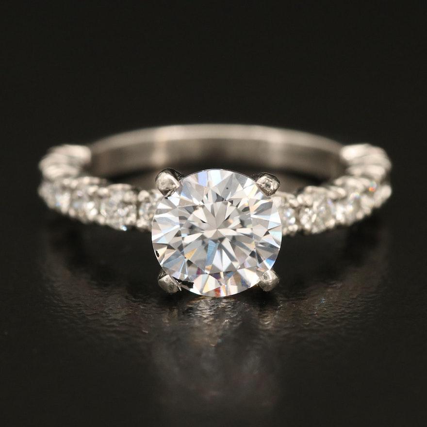 Platinum Cubic Zirconia and Diamond Ring