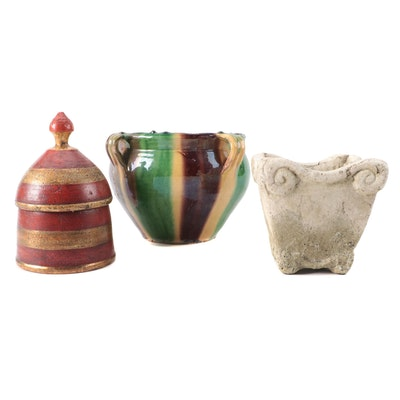 Terracotta and Ceramic Planters with Decorative Vessel