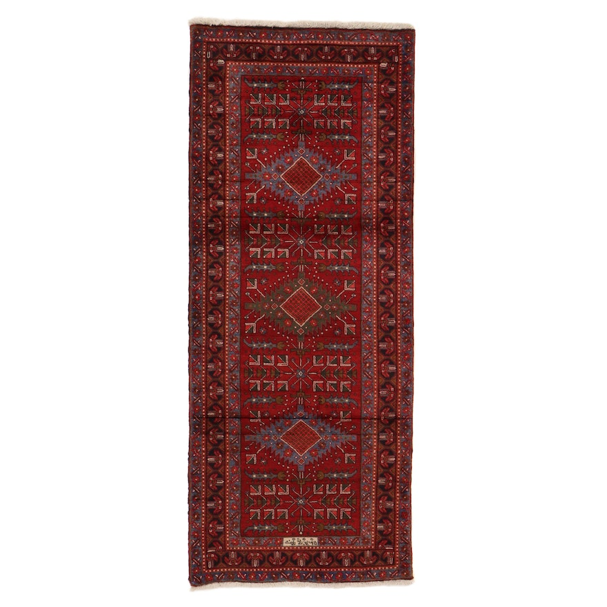 3'11 x 9'11 Hand-Knotted Persian Meshkin Signed Long Rug