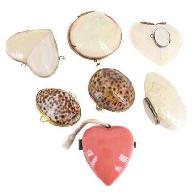 Cowrie, Polished Shell and Ceramic Trinket Boxes