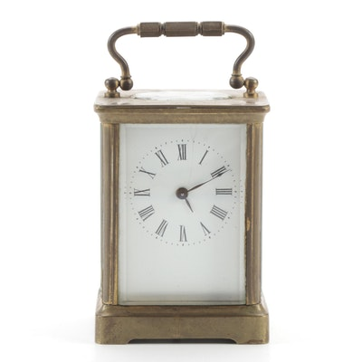 French Brass and Glass Corniche Carriage Clock