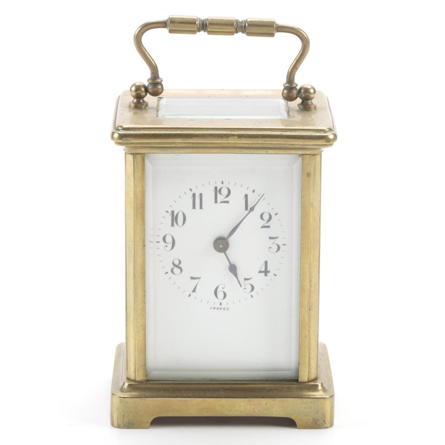 John Wanamaker Brass and Glass Carriage Clock, Late 19th/Early 20th Century