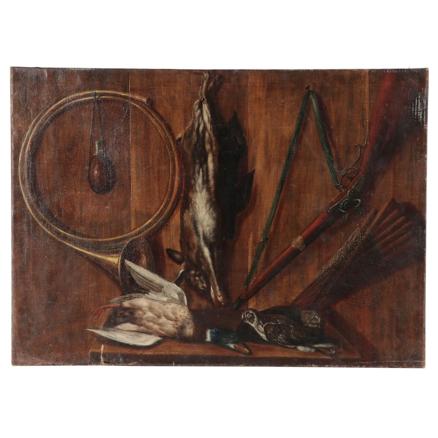 Trompe-l'œil Oil Painting of Hunting Gear and Trophies, Mid-19th Century