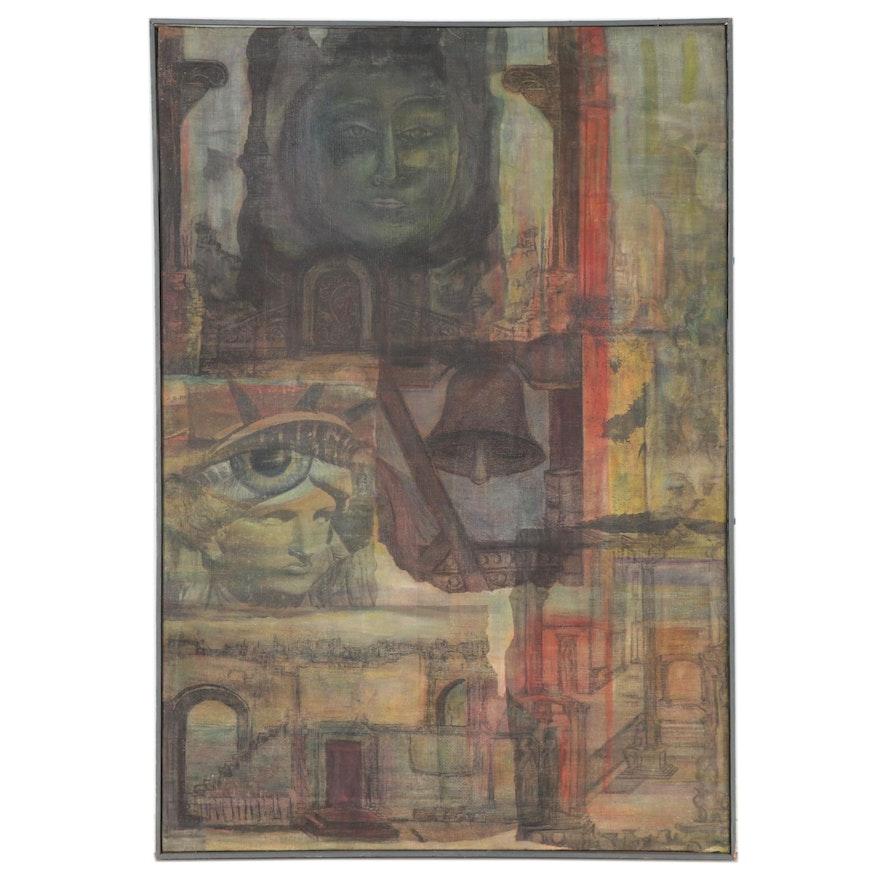 "Vera Berdich Hand-Colored Mixed Media Print ""First Experiment,"" 1958"